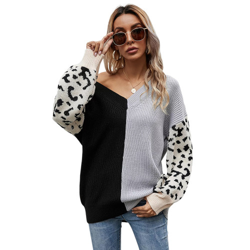 Gray Contrast Leopard Pullover Sweater TQK271238-11