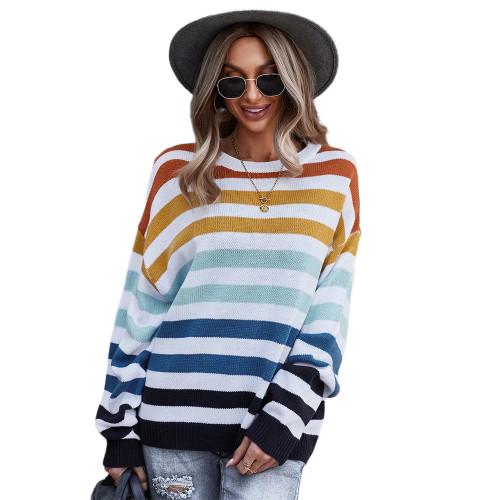 Orange Multicolor Stripes Loose Style Sweater TQK271240-14
