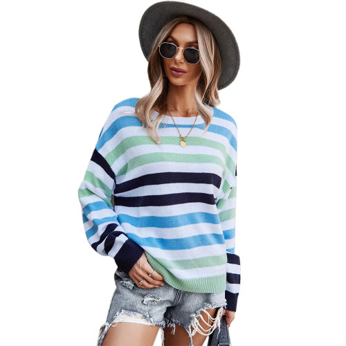 Blue Multicolor Stripes Loose Style Sweater TQK271240-5