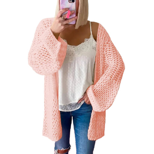 Pink Flared Sleeve Knitted Long Sleeve Cardigan TQK271241-10