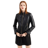 Black Classic Style Stand Collar PU Leather Jacket TQK280092-2