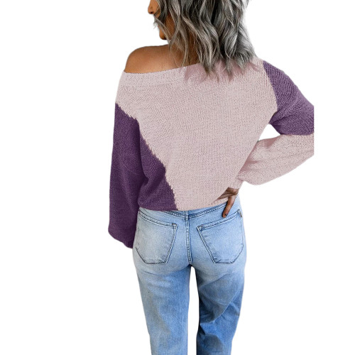 Pink Colorblock Loose Style Pullover Sweater TQK271237-10