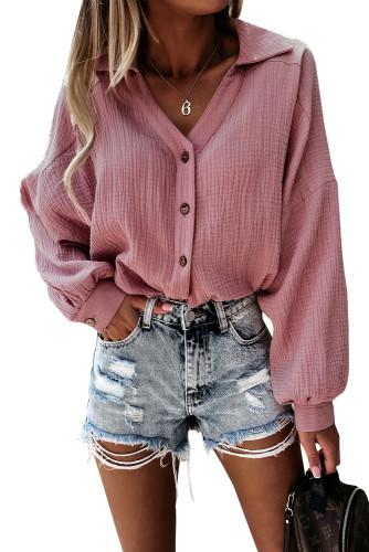 Turn Collar V Neck Crinkled Cuffed Shirt LC2551423-10