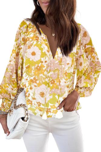 Yellow Tasseled Drawstring V Neck Floral Bibshop Sleeve Blouse LC2518483-7