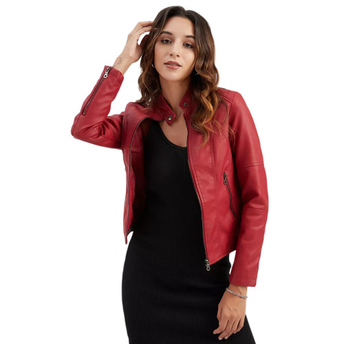 Red Slim Fit Stand Collar PU Motorcycle Jacket TQK280091-3