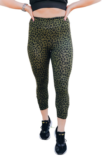 Green Yoga Fitness Leopard Cropped Leggings LC76280-9