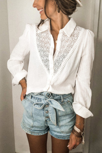 White Floral Lace Hollow-out Splicing Crinkled Shirt LC2551321-1