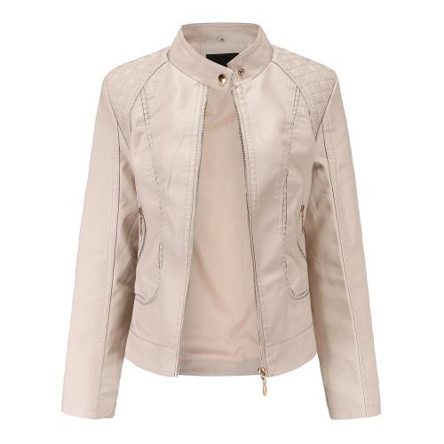 Khaki Classic Style Stand Collar PU Leather Jacket TQK280092-21