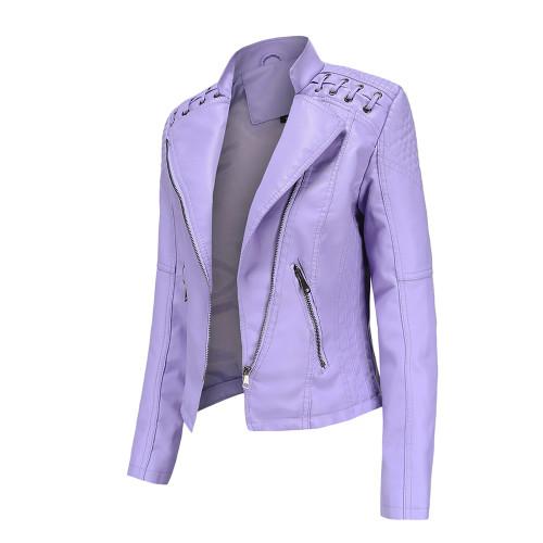 Light Purple Zipper Slim Fit Motorcycle PU Leather Jacket TQK280090-38