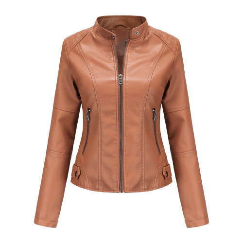 Camel Slim Fit Stand Collar PU Motorcycle Jacket TQK280091-58
