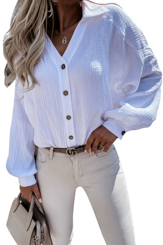 White Turn-down Collar V Neck Crinkled Cuffed Shirt LC2551423-1