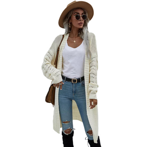 Solid Apricot Open Front Knitted Long Cardigan TQK271242-18