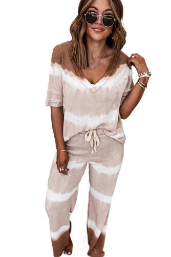 Pink Two-Piece Tie-dye V-Neck Top Elastic Waist Pants Set LC621646-10