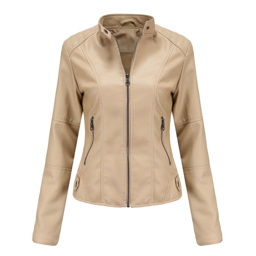 Apricot Slim Fit Stand Collar PU Motorcycle Jacket TQK280091-18