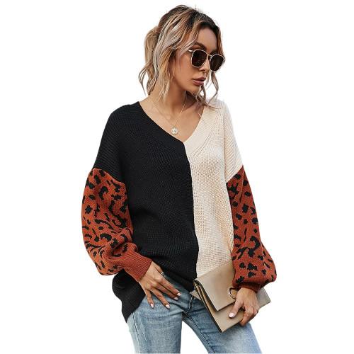 Apricot Contrast Leopard Pullover Sweater TQK271238-18