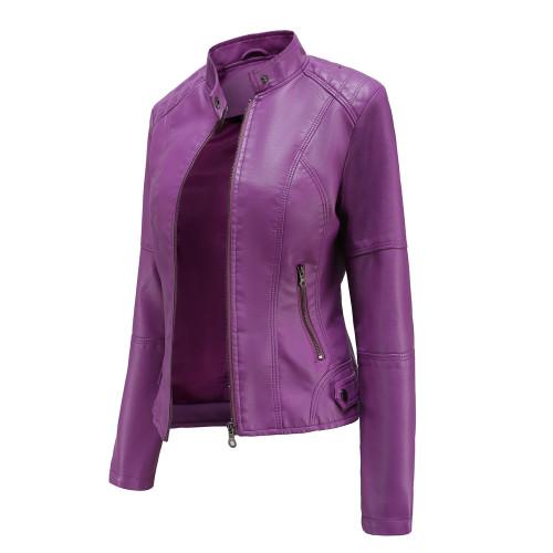 Purple Slim Fit Stand Collar PU Motorcycle Jacket TQK280091-8