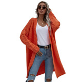 Solid Orange Open Front Knitted Long Cardigan TQK271242-14