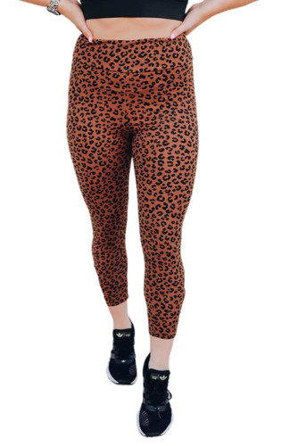 Brown Yoga Fitness Leopard Cropped Leggings LC76280-17