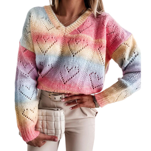 Multicolor Rainbow V Neck Knitted Pullover Sweater TQK271239-29