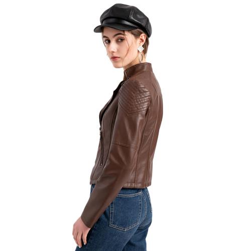 Coffee Zipper Slim Fit Motorcycle PU Leather Jacket TQK280090-15