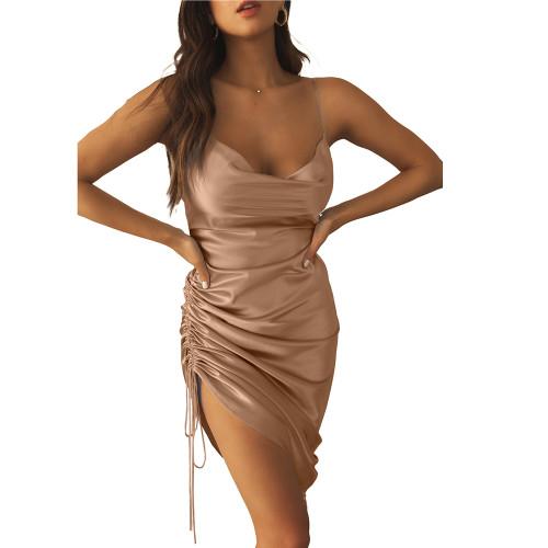 Khaki Pleated Drawstring Bodycon Dress TQK310620-21