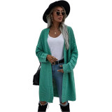 Solid Green Open Front Knitted Long Cardigan TQK271242-9