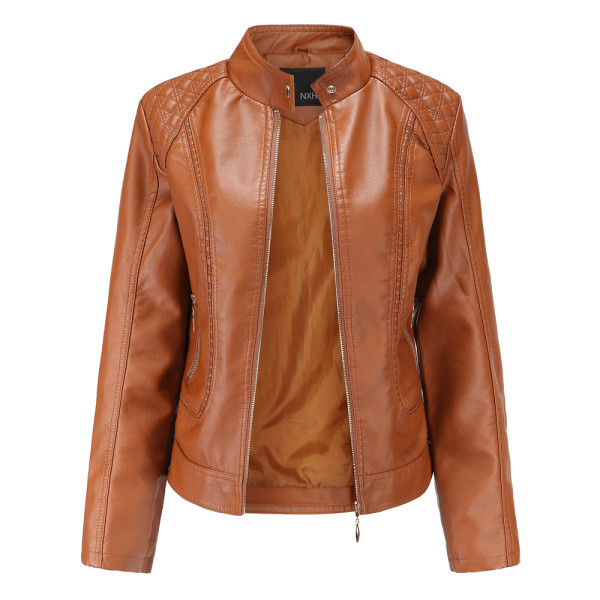 Brown Classic Style Stand Collar PU Leather Jacket TQK280092-17