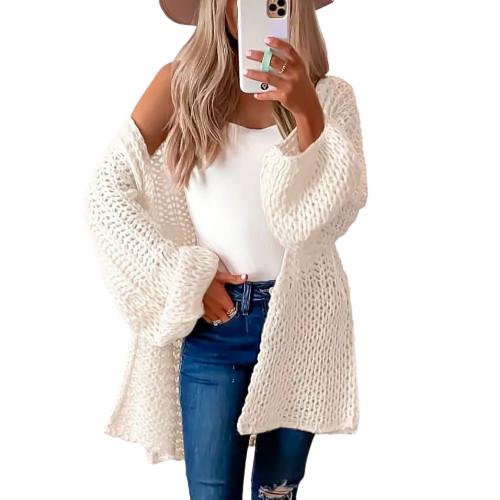 Beige Flared Sleeve Knitted Long Sleeve Cardigan TQK271241-46