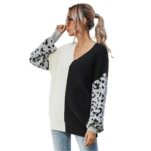 Black White Contrast Leopard Pullover Sweater TQK271238-37
