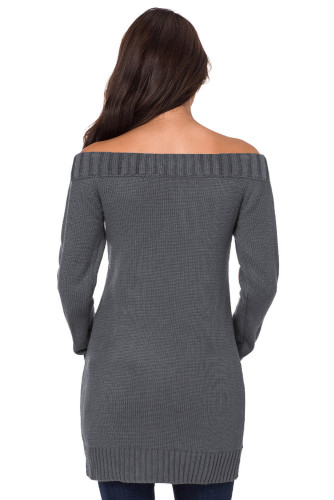 Gray Off-shoulder Cable Knit Sweater Dress LC272914-11