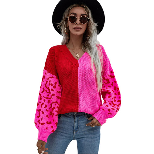 Rosy Contrast Leopard Pullover Sweater TQK271238-6