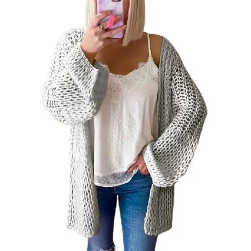 Gray Flared Sleeve Knitted Long Sleeve Cardigan TQK271241-11