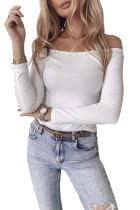 White Solid Color Off Shoulder Slim Fit Long Sleeve Top LC2518668-1