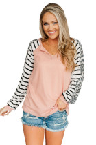 Animal Striped Sleeve Patchwork Waffle Knit Top LC2518546-10