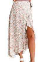 Wrap Style High-low Ruffle Hemline Floral Skirt LC65844-1