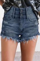 High Waist Tasseled Hem Jean Shorts LC786215-205