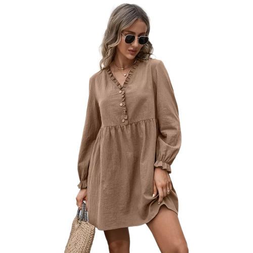 Coffee Ruffle Detail V Neck Long Sleeve Dress TQK310622-15