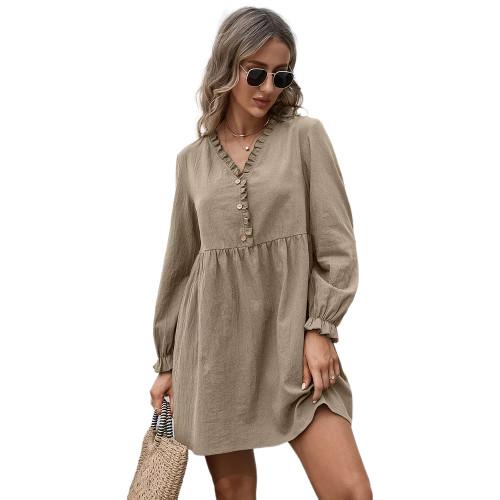 Khaki Ruffle Detail V Neck Long Sleeve Dress TQK310622-21