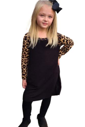 Black Leopard Patchwork Girl's Long Sleeve Dress TZ61316-2