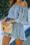 Blue Off Shoulder Bell Sleeves Floral Romper LC642066-5