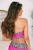 Neon Pink Leopard Print Trim Bandeau Bikini LC43999-20