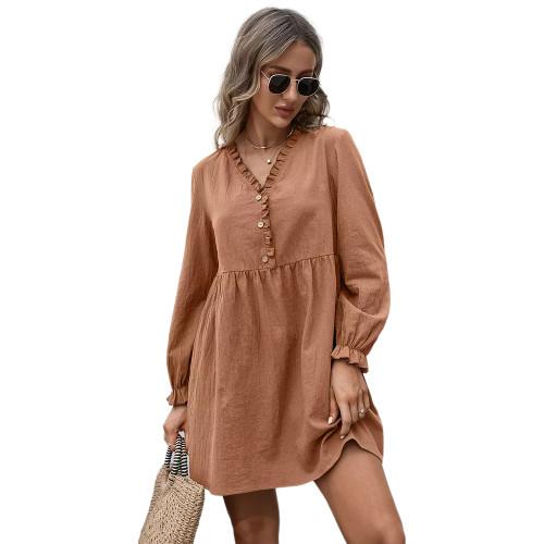 Caramel Ruffle Detail V Neck Long Sleeve Dress TQK310622-56