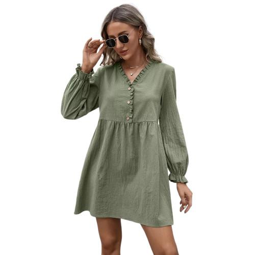 Green Ruffle Detail V Neck Long Sleeve Dress TQK310622-9