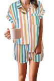 Multicolor Striped Turn-down Collared Pajamas Set LC4511406-22