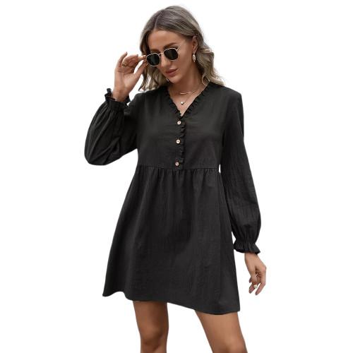 Black Ruffle Detail V Neck Long Sleeve Dress TQK310622-2