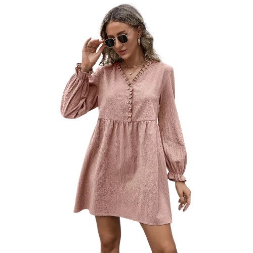 Pink Ruffle Detail V Neck Long Sleeve Dress TQK310622-10