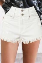 White Tasseled Hem Jean Shorts LC786215-1