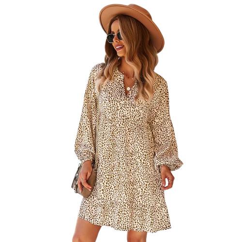 Khaki Leopard Print Holiday Long Sleeve Dress TQK310628-21