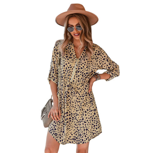 Khaki Leopard Print 3/4 Sleeve A-line Dress TQK310626-21
