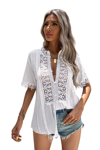 White Crochet Hollow-out Lace Splicing Short Sleeve Top LC2517585-1